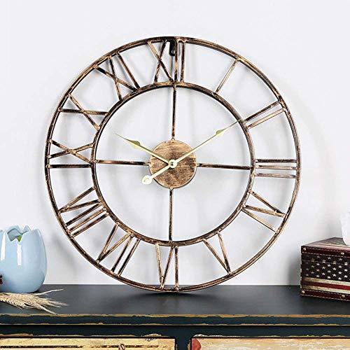 Nordic Cijfer Metal wandklokken Ouderwets Euran Style Hollow Iron Round Art Outdoor Garden Clock Decoration alarm clock (Color : A, Size : 50 * 50 * 2CM)