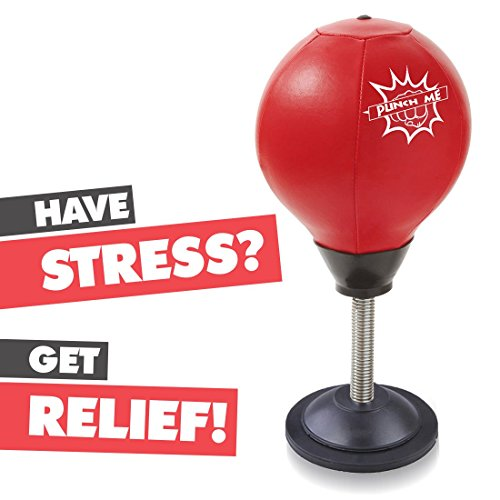 Abco Tech Stress Buster Desktop Punching Ball – Relieves Stresses and Good for Exercise - Super Strong Suction Cup Holds Securely on Smooth, Flat and Dry Surface – Pump Included – Just Punch Me