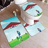 Balance-Life Hombre en un ala Delta Ilustración Alfombrillas para el baño Set Alfombrillas de 3 Piezas Alfombrilla de baño + Contorno + Tapa del Inodoro Cover-321-28U