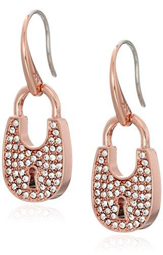 Michael Kors Heritage Padlock Rose Gold-Tone Drop Earrings