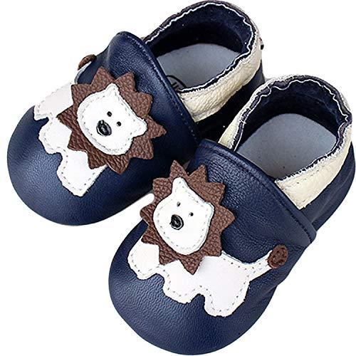 Lvptsh Chaussures Bébé Fille Premiers Pas Chaussures Cuir Souple Bébé Garçon Mocassins Enfant Chaussures de Marche Chaussons Semelle Souple Antidérapante ,6-12 mois,Bleu Lion