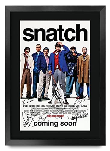 HWC Trading - Poster Stampato con autografo e autografo, con Scritta Snatch The Cast Brad Pitt Guy Ritchie Vinnie Jones Benicio del Toro Jason Statham Stephen Graham, Formato A3