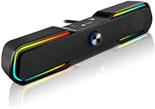 Sound Bar Gaming Speaker - Bluetooth Speaker with HiFi, 360 Surround Sound, Dual Horn and Strong Bass - RGB Light Soft Tou...