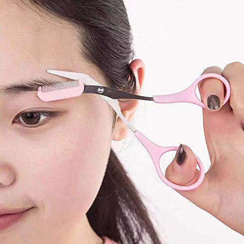 CLL Stainless Steel Eyebrow Shaping Cut Scissors Comb Hair Remover Beauty Tool