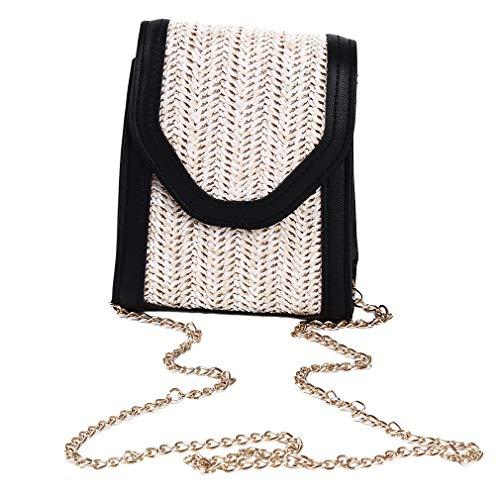 Kingus - Mini borsa a tracolla in tessuto, quadrata, estiva, da spiaggia, in stile retrò, da viaggio, PU, Nero , As the description