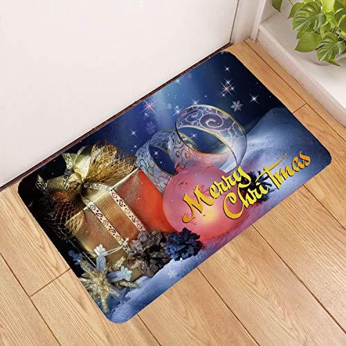 Deurmat tapijt, 3D-bedrukte Vrolijk kerst gouden gift antislip soft ingang tapijt mat welkom slaapkamer vloer tapijt rechthoek deurmat voor Kerstmis Home W 50×80cm