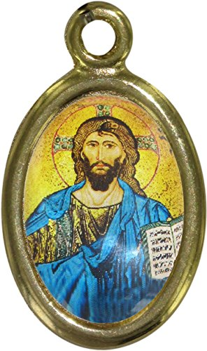 Medalla Cristo Pantócrator con Libro Abierto de Metal Dorado y Resina - 2,5 cm