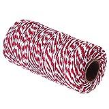 Cordon en coton de 2 mm d'épaisseur 200 m de long pour travaux manuels, jardinage, pâtisserie, boîtes cadeau (jaune + blanc) (couleur : rouge + blanc, taille : 100 m)