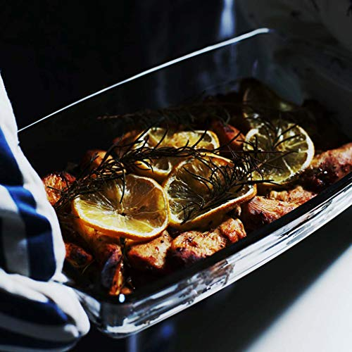 SMC Platos Rectángulo Binaural Vidrio Transparente Queso Plato de arroz Horno microondas Bakeware Bowl Fish Plate Horno (tamaño : 22 * 6cm)