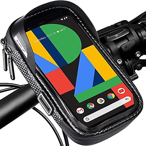 Bolsa para Manillar de Bicicleta, Bolso de Bici Impermeables Soporte para Teléfono Móvil con giratoria 360°, Soporte Bolsa Táctil para Teléfonos Móviles de 7 Pulgadas
