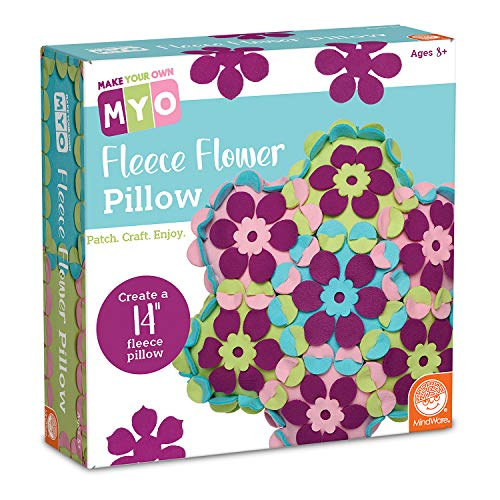 """MindWare Make Your Own Fleece Flower Pillow – Cute & usable DIY Crafts for Girls & Teens – Make a 14""""x 14"""" Fleece Pillow with Slot & tab Method – No Sewing Required – 36 pcs"""