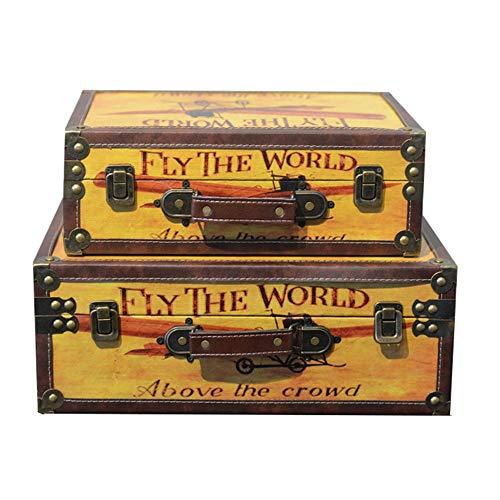 Lagerung Koffer Koffer aus Holz Bekleidungsgeschäft Fotografie Props Fensterdekoration Ornamente Antike Tragbarer für Schlafzimmer, Wohnzimmer, Ankleide, Flur (Color : A, Size : 2pcs)