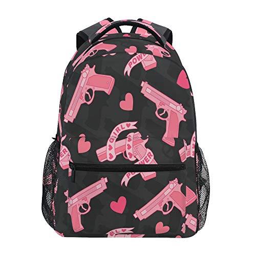 School Backpack ADMustwin Pink Heart Guns Pattern Travel Shoulders Bookbag Lightweight Waterproof College Laptop Backpack Elementary Large for Girls Boy Woman Man Teens