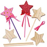 Baker Ross Star Toy Wand Making Kit (Pack of 6) Wands for Kids
