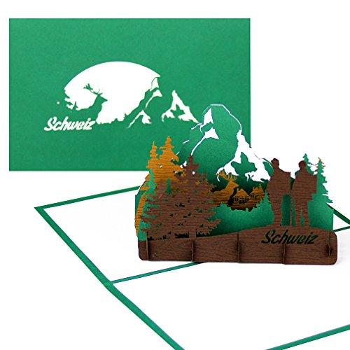 """Grußkarte Schweiz """"Panorama Schweizer Alpen & Matterhorn"""" - Pop-Up Karte Bergsteigen, Wandern & Klettern in der Schweiz als Geschenkgutschein, Reisegutschein & Souvenir"""