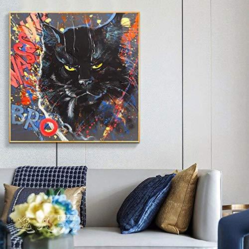 Pintura de la lona Resumen Graffiti Cat Animal Pictures Arte de la pared para la sala de estar Decoración moderna del hogar C 40x40cm