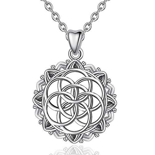 Blume des Lebens Halskette Damen, 925 Sterling Silber Heilige Geometrie Anhänger