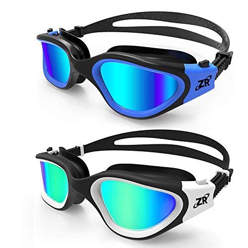 ZIONOR Swimming Goggles, 2 Packs G1 Polarized Swim Goggles UV Protection Watertight Anti-Fog Adjustable Strap for Adult Men and Women (BlackBlue+WhiteGold)