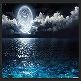 Luna Océano Estrellas TapizLago Noche Nube Galaxia Espacio Decoración Dormitorio Sala de Estar Dormitorio Colgante de Pared