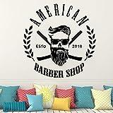 Ajcwhml Salon de Coiffure Homme Salon Sticker Mural pour décoration de fenêtre de Magasin barbier Sticker Mural Coupe de Cheveux Barbe Visage Outils Logo Salon Autocollant 54x54cm