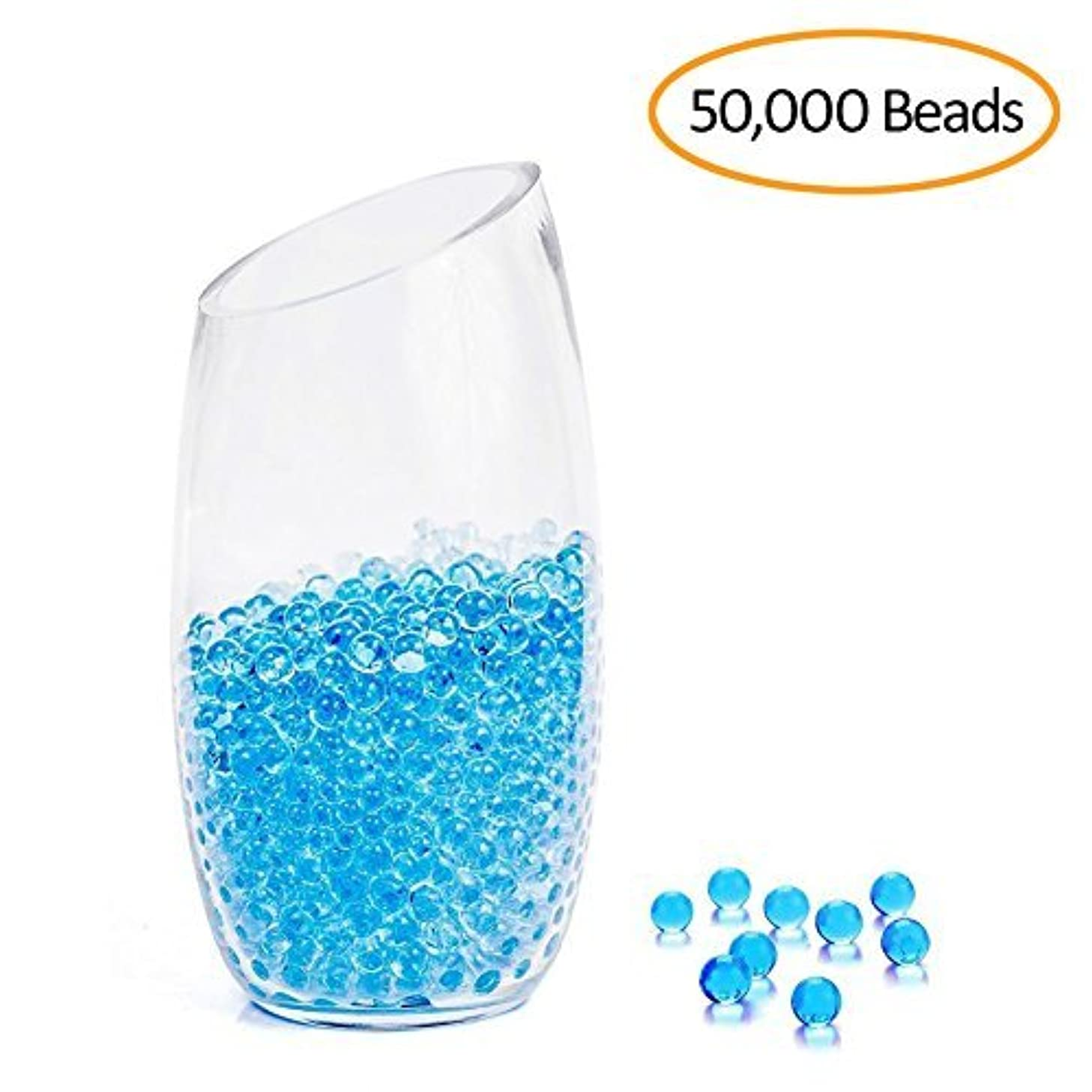 Blue Water Beads 50000 Gel Beads Non Toxic for Kids Tactile Sensory Toys, Spa Refill,Vases, Plants, Wedding and Home Decoration