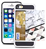 Credit Card ID Holder Wallet Case for iPhone 5/SE/5S Dual Slim Shock-Resistant Hybrid Armor Case - Holds 2 Cards & Cash by Corpcase. Designer ID/Card Slider Pattern White Marble Diamond Pattern