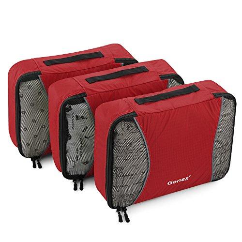 Gonex Organiseurs de Bagage Sacs Rangement de Valise Voyage 3 pcs Rouge