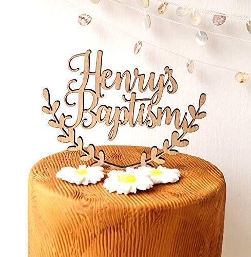 personalized centerpiece baptism cake topper custom centerpiece gold glitter toppe God bless cake topper with name