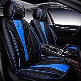JJYY Funda para Asiento de Coche, Juego Completo, Impermeable, de Piel sintética, Universal, Adecuada para Audi A3 / a4 / a5 / a6 / A8 / q3 / q5 / RS4 (Compatible con airbag) (Color: Negro + Azul