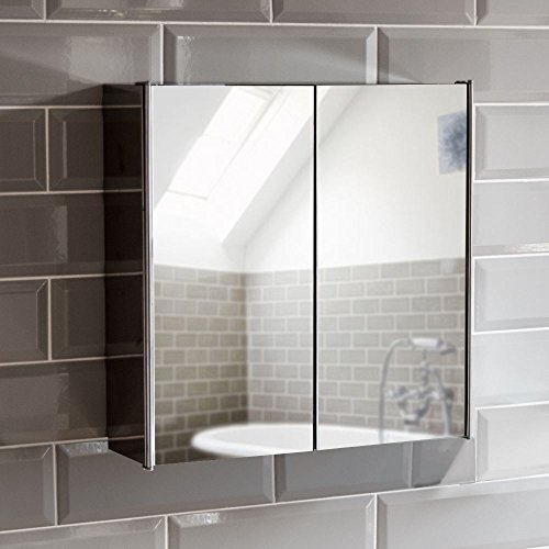 Home Discount Tiano Bathroom Cabinet Double Mirror Wall Mounted Stainless Steel Modern Storage Cupboard