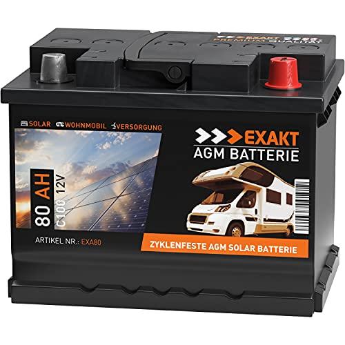EXAKT AGM Solarbatterie 80Ah 12V Photovoltaik Wohnmobil Boot Camping Versorgungsbatterie