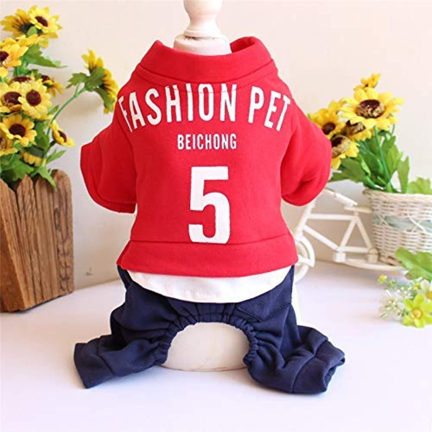 Party Pet Costume Pet Clothes, Spring, Summer, Autumn e Winter, Teddy, Dog Clothing, Stamped FourLegged (Colore: Rosso, Dimensione: XL) Pet Uniform (Colore: Rosso, Dimensione: XL)
