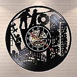 fdgdfgd Negro Retro CD Reloj Departamento de Bomberos Departamento de Bomberos Reloj de Disco de Vinilo Arte Bombero Decoración de Habitación año Nuevo