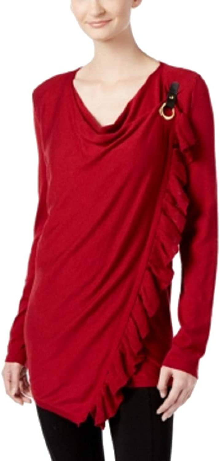 INC International Concepts Petite Ruffled Draped Sweater (Glazzed Berry, PS)