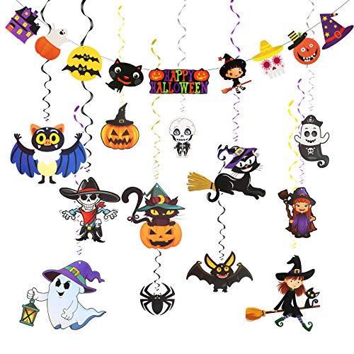 LAITER 12 Pezzi Festoni Halloween Striscione a Spirale e 1...