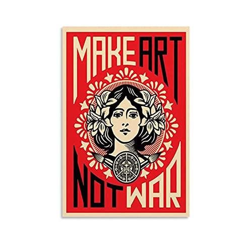 WLWQ Make Art Not War Poster decorativo da parete per soggiorno, camera da letto, 40 x 60 cm