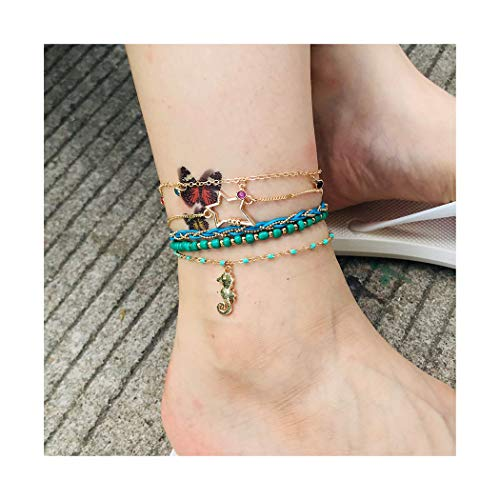 Campsis Boho Layered Crtstal Anklet Gold Star Seahorse Ankle Bracelets Chain Bead Foot Jewelry Set for Women and Girls