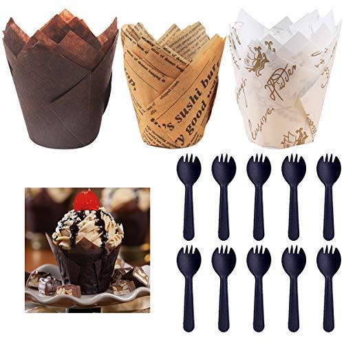 150 Stück Tulpenförmchen für Cupcakes,Tulpen Muffinförmchen mit fettdichtem Papier,Tulpe Cupcake Liner, Muffin Backförmchen, Cupcake-Einlagen,Backbecher Papier für Hochzeit, Geburtstag, Party