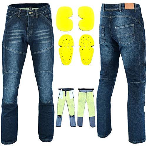 RXL - Pantalones vaqueros de moto Kevlar para hombre y motocicleta, pantalones...