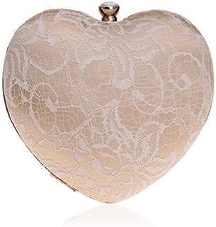 Bolso De Las Señoras Lace Women Heart Evening Bags Hollow out Design Rhinestones Clutches Chain Shoulder Purse Handbags