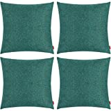 Awpeye Pack of 4 Throw Pillow Covers, Linen Material Cushion Covers 18 X 18 Inch, Dark Green, Decorative Sofa Pillow Case Suitable for Every Season Simple Fashion