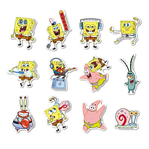 【全12種セット】 スポンジ・ボブ ミニステッカー キャラクターステッカー まとめ買い アメリカ アニメ SpongeBob SPOSET02 gs 公式グッズ