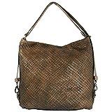 Reptile´s House Dama - Bolso bandolera para mujer (piel de becerro trenzada), color marrón