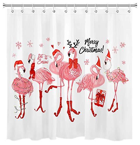Weihnachts Flamingo Duschvorhang für Badezimmer Niedliche Rosa Flamingo Tragen Roter Weihnachtshut Stocking Schneeflocke Duschvorhang Set mit Haken Dekoration 72x72 Zoll wasserdichtes Polyestergewebe