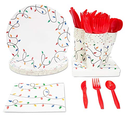 Christmas Lights Dinnerware Set, Paper Plates, Plastic Cutlery, Cups, and Napkins (Serves 24, 144 Pieces)