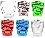 Feelino Happy - Juego de 6 vasos de doble pared de 200 ml, 1 transparente y 5 colores surtidos,...