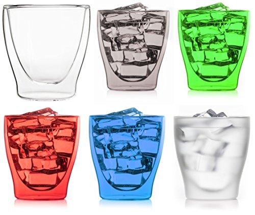Happy-Set: 6X 200ml doppelwandige farbige Gläser * 1x Transparent + 5X Farben Sortiert * edler Glasmix von Feelino