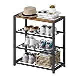 Yusong Shoe Rack,4-Tier Metal Shoe Rack with MDF Top Board,Modern Shoe Storage Organizer with 3 Metal Mesh Shelves,Each Tier Fits 3 Pairs of Shoes,for Entryway,Rustic Brown