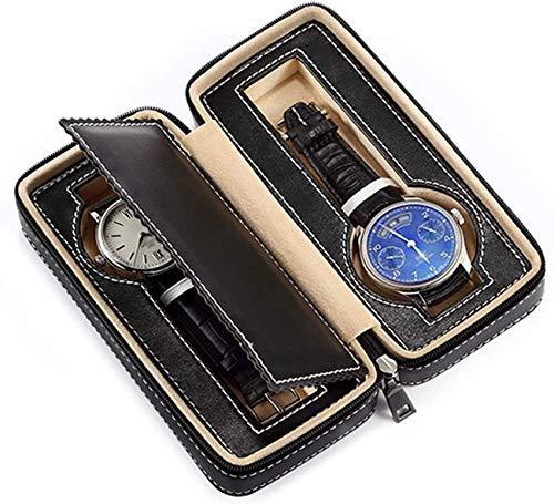 QULONG Caja de Reloj Organizador 2 Ranuras Relojes portátiles Caja de Viaje Caja de Almacenamiento de Reloj Cuero de PU Diseño de Cremallera Enrollador de Reloj
