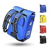 Fahrradtasche für Gepäckträger 3in1 Geeignet als Gepäckträgertasche, Rucksack und Umhängetasche 100% Wasserdicht 25L Fahrradtaschen mit 4 Reflektoren für Pendeln, Einkaufen, Radtour (Blau25L)
